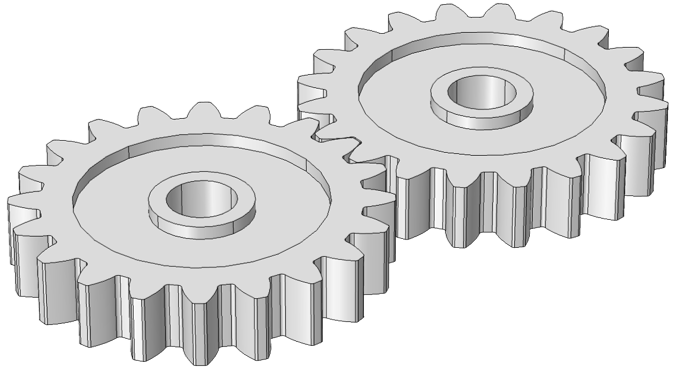 An image depicting external spur gears, modeled with new gear modeling functionality in COMSOL Multiphysics version 5.2a.