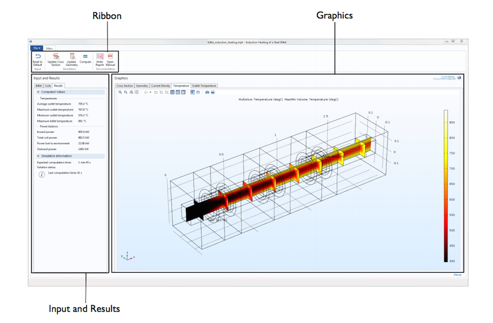 The user interface (UI) of a steel billet induction heating numerical modeling app.
