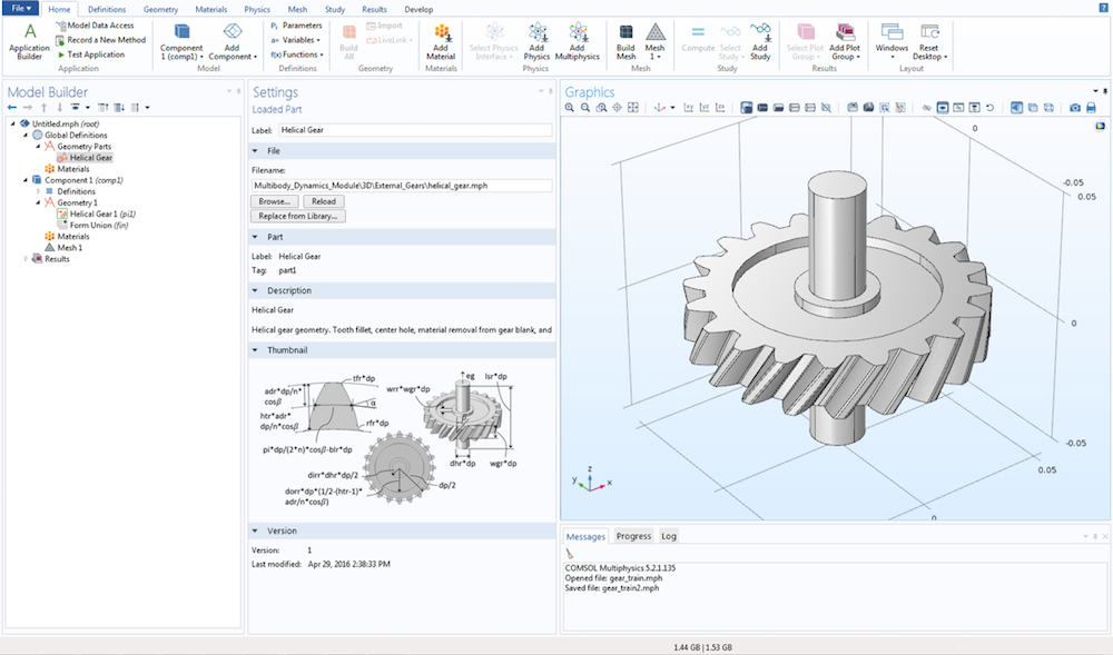 A screenshot of a helical gear geometry created with new gear parts available in the Parts Library.