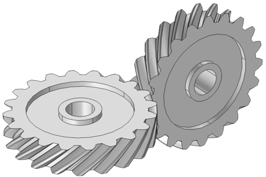 A schematic depicting a cross between helical gears.