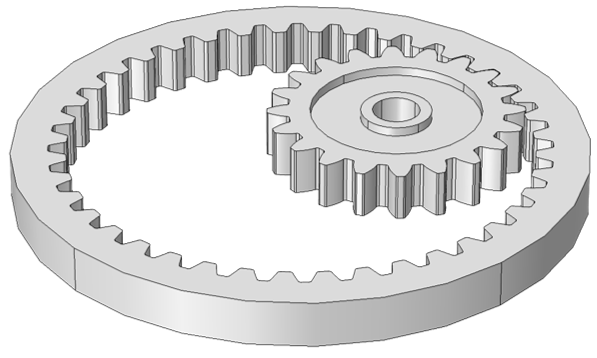 A model of internal spur gears.