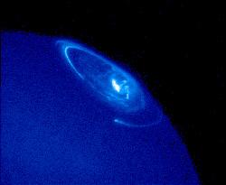 Ultraviolet visualization of auroras occurring on Jupiter.