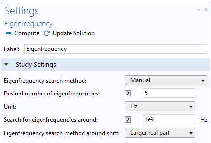 Screenshot showing the Eigenfrequency settings.
