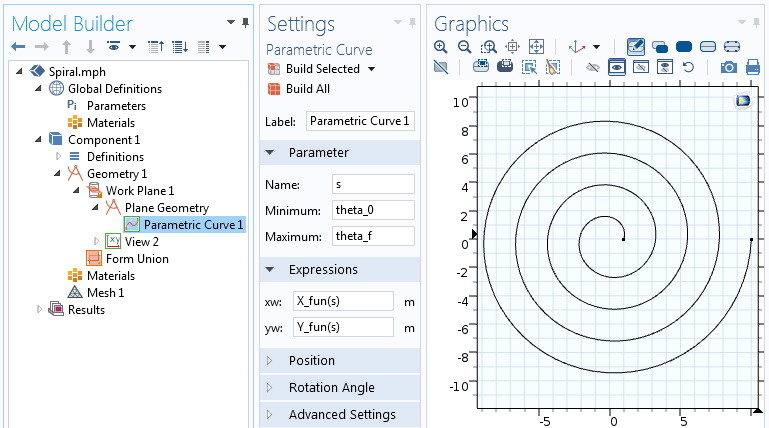 Settings for the Parametric Curve feature.