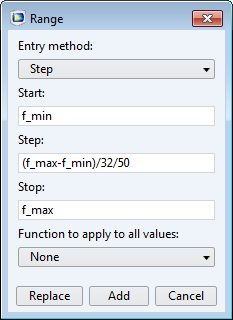 A screen capture of the Range dialog box, which is used to update the simulation frequency step.