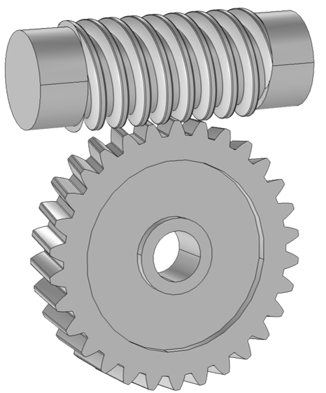 A schematic utilizing worm and wheel, an available modeling node for connecting various types of gears in COMSOL Multiphysics.