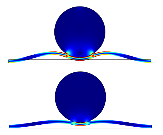 Simulation displaying results with adhesion applied and when both adhesion and decohesion are applied.