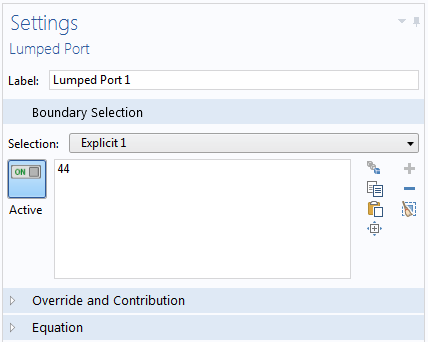 Screenshot showing the lumped port boundary's settings window.