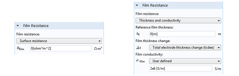 Screenshots showing various film resistance settings in COMSOL Multiphysics.