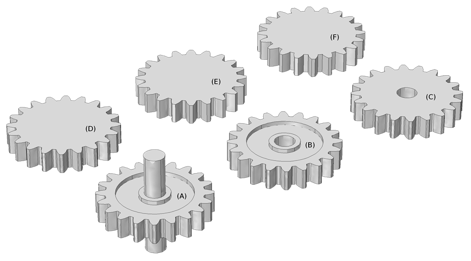 Images displaying spur gear geometries with different optional features removed.