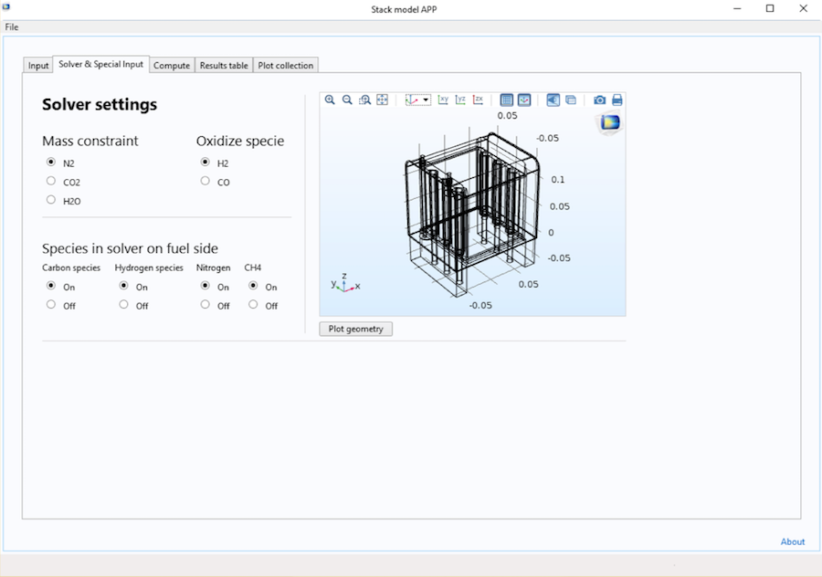 Screen capture showing the SOFC stack app's Solver & Special Input tab.