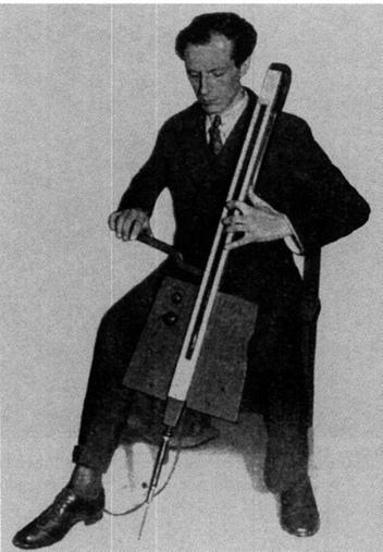 Photo showing Theremin playing an electronic cello.