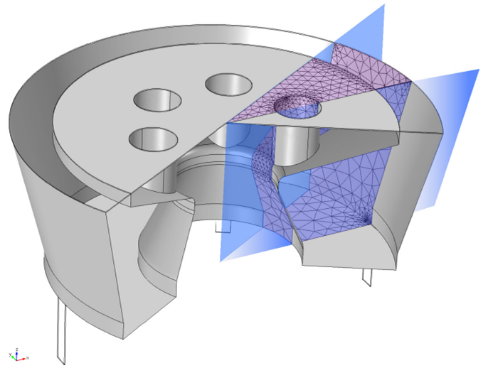 Image showing a COMSOL Multiphysics geometry of a Type 4134 microphone.