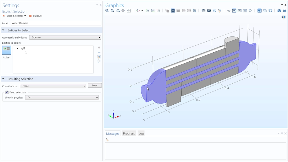 Screenshot showing the Explicit selection option in COMSOL Multiphysics.