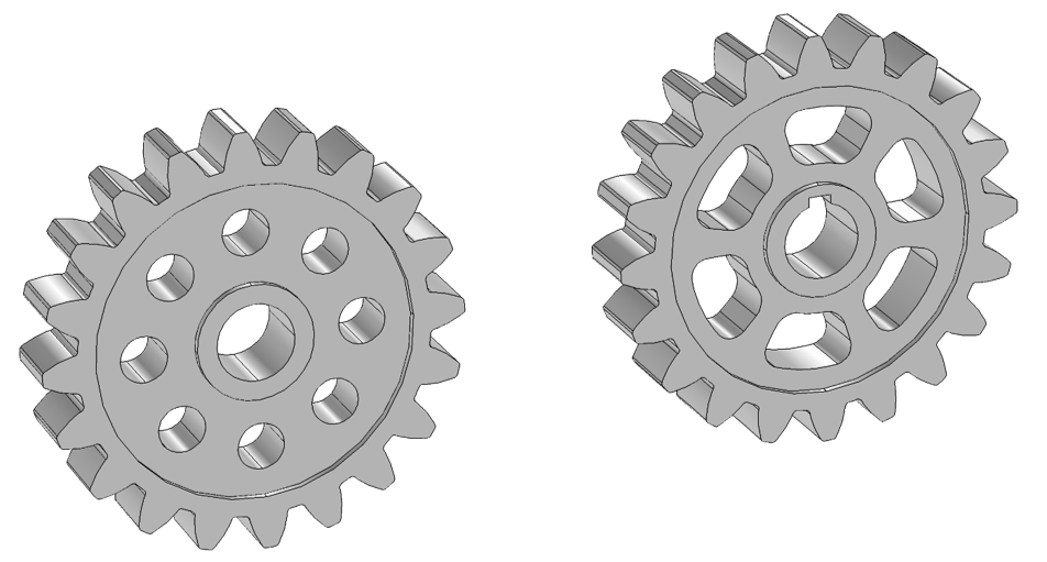 Visual highlighting two gears that have customized gear blanks.