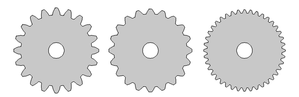 Images showing gears for various modules and pressure angles.