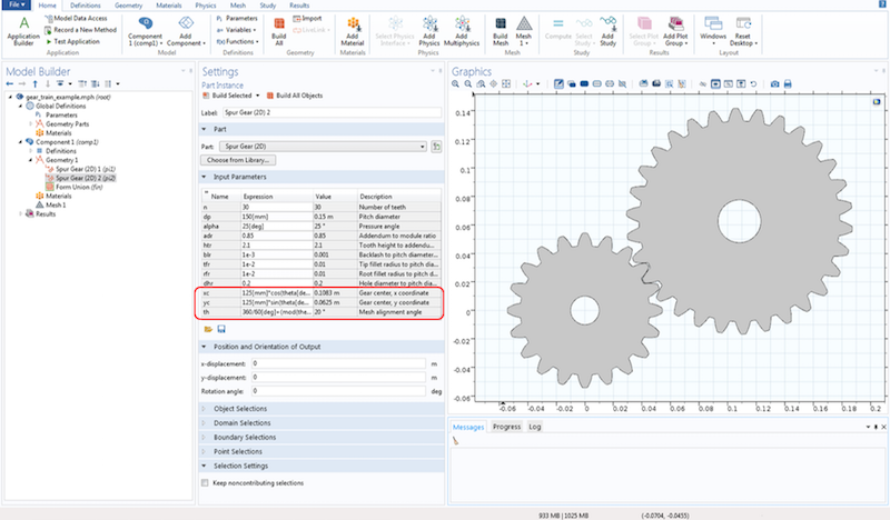 Screenshot showing the spur gear settings.