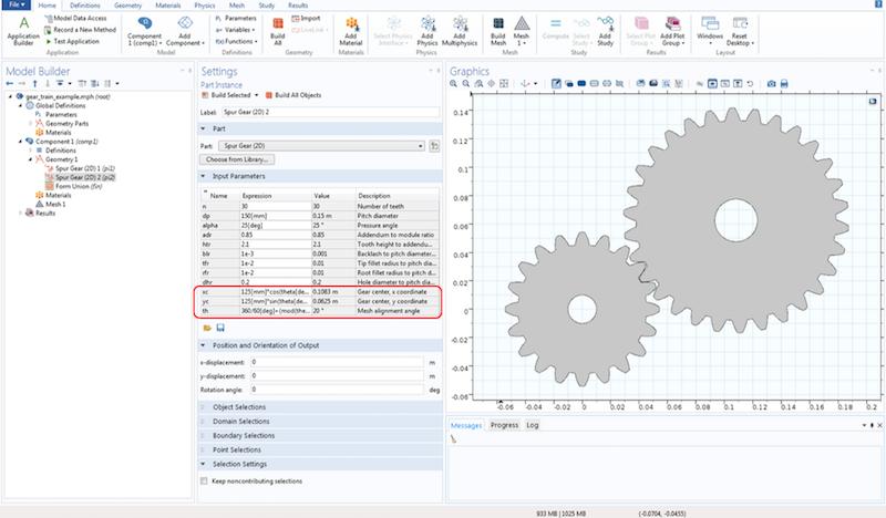 Screenshot showing the spur gear settings.