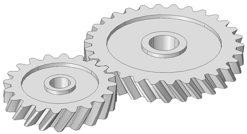 Visual depicting a helical gear pair.