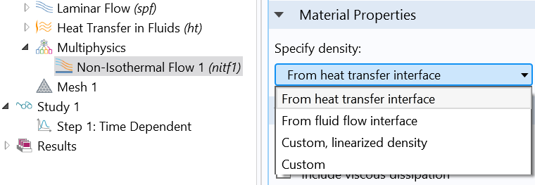 Screenshot highlighting the different choices for specifying the density in COMSOL Multiphysics.