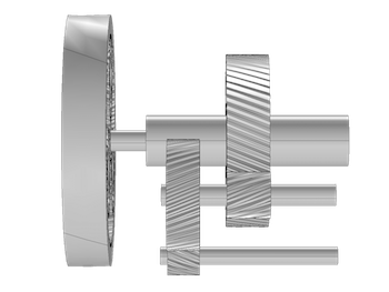 Geometry of a wind turbine gearbox, which was made with the Multibody Dynamics Module.