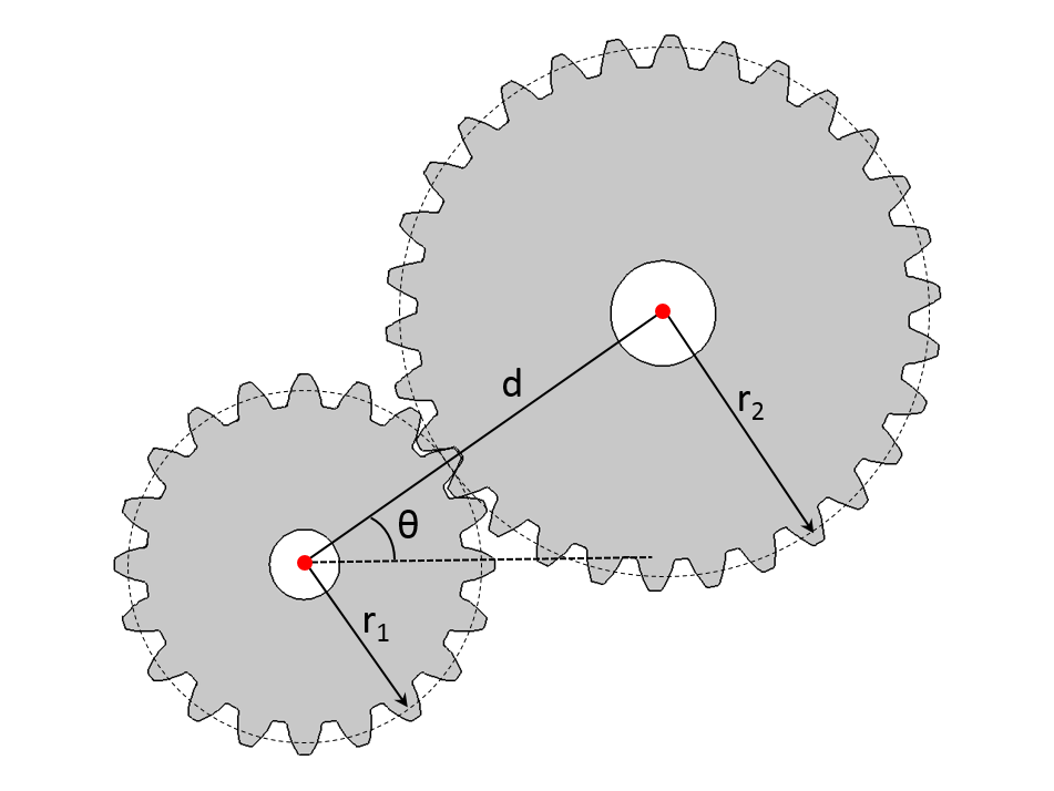 Schematic displaying a pair of spur gears.