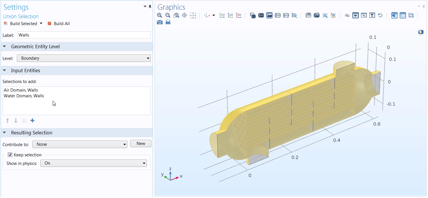 Screenshot depicting a Union selection being applied in COMSOL Multiphysics.