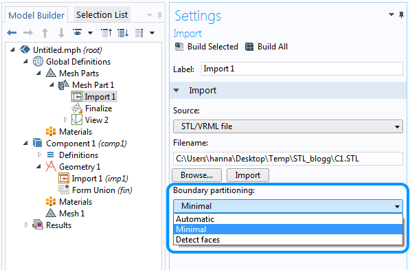 Boundary partitioning settings of the mesh import.