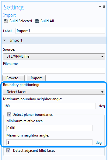 The Detect faces boundary partitioning feature.