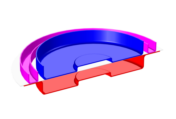 COMSOL Multiphysics model geometry representing the sheet metal forming process.