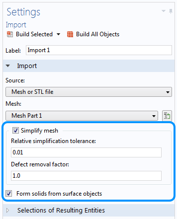A screenshot showing the Simplify mesh settings.
