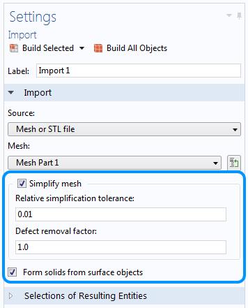 Настройки импорта геометрии с выденной опцией Simplify mesh.