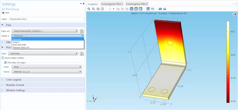 Switching between different simulation results based on the material.