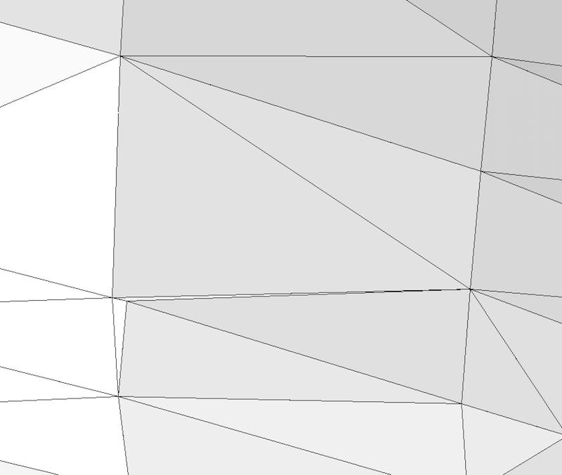 На рисунке изображены два анизотропных треугольника среди изотропных треугольников.