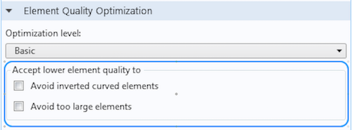 Screenshot displaying two different options for accepting lower element quality.
