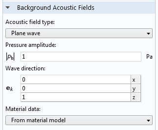 Screenshot displaying the Background Acoustic Fields node in COMSOL Multiphysics.
