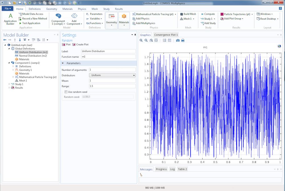 Screenshot depicting the Uniform Distribution setting in COMSOL Multiphysics.