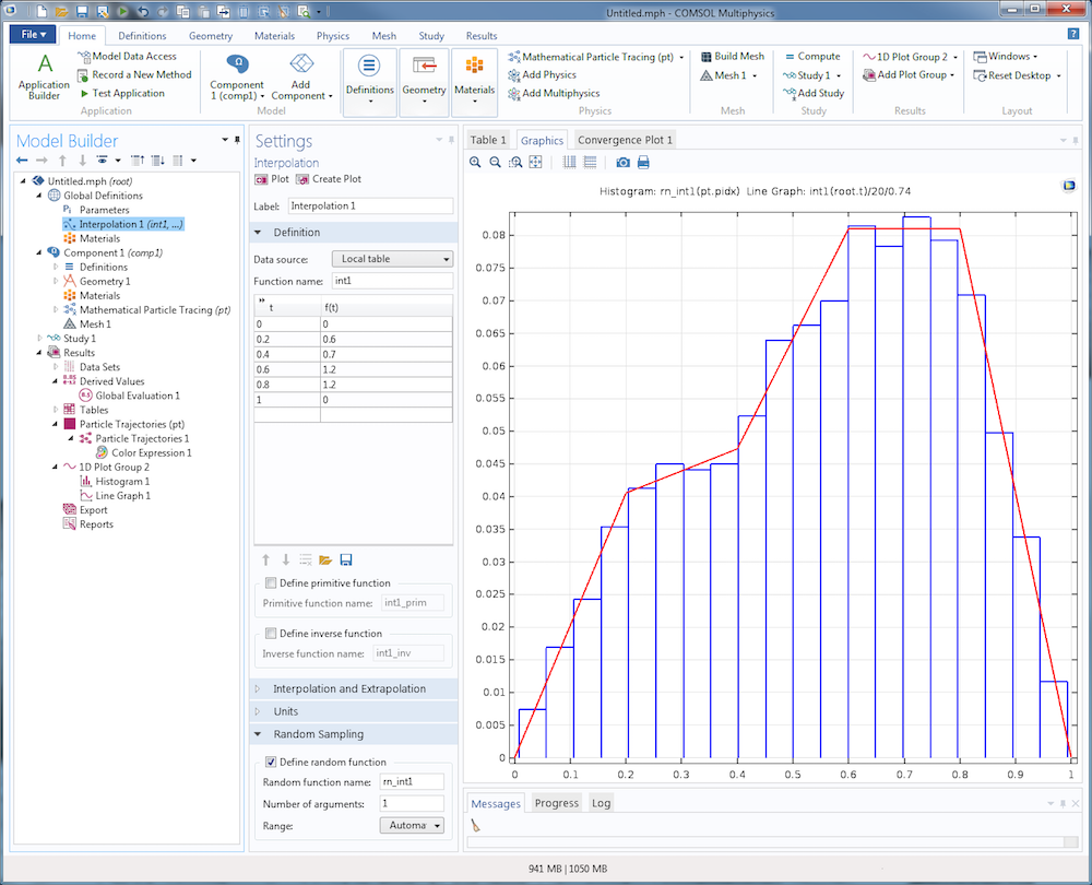 Screen capture illustrating the Interpolation function feature settings and Graphics window in COMSOL Multiphysics.
