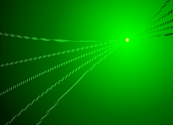 Image depicting a Gaussian beam converging, focusing, and diverging.