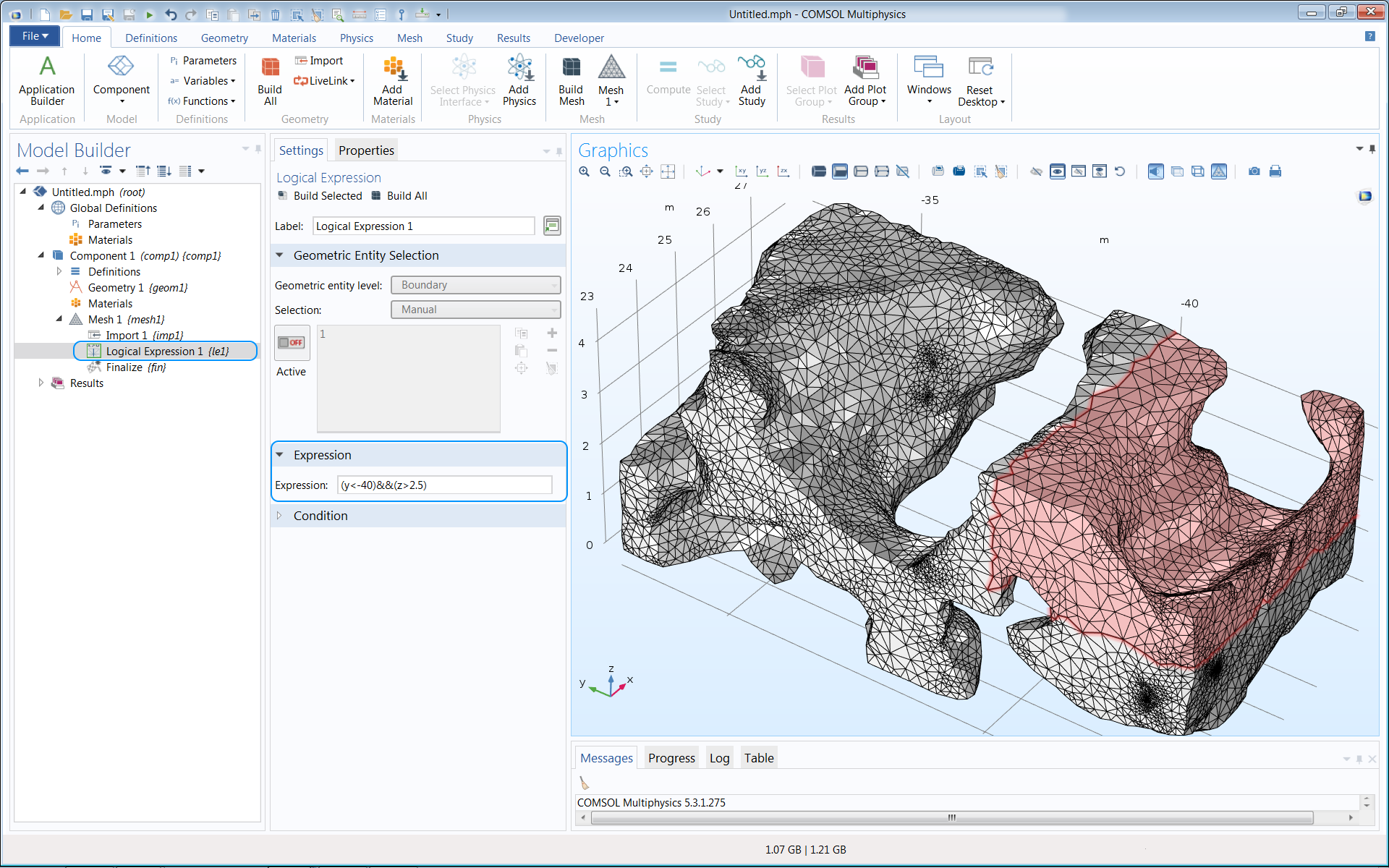 A screenshot of the COMSOL Multiphysics GUI showing a meshed model.