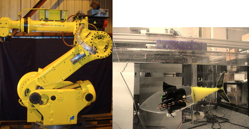 Two photographs displaying a metallic robot and a soft robot.