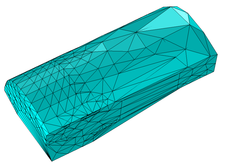 Image displaying the Delaunay tetrahedralization of a piston geometry's boundary mesh points.