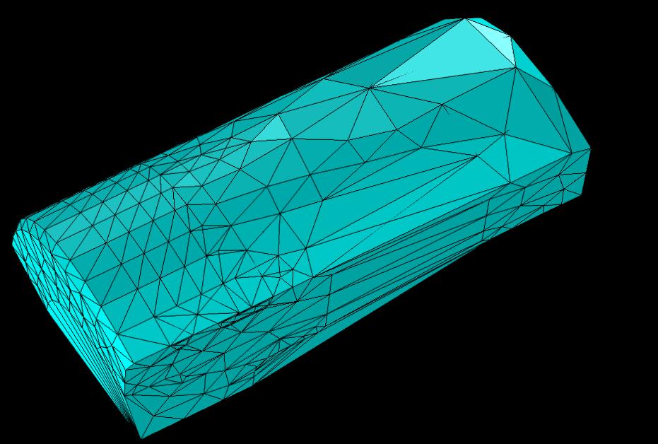 На рисунке изображена тетраэдрализация по алгоритмам Делоне на основе узловых точек граничной сетки для геометрии поршня