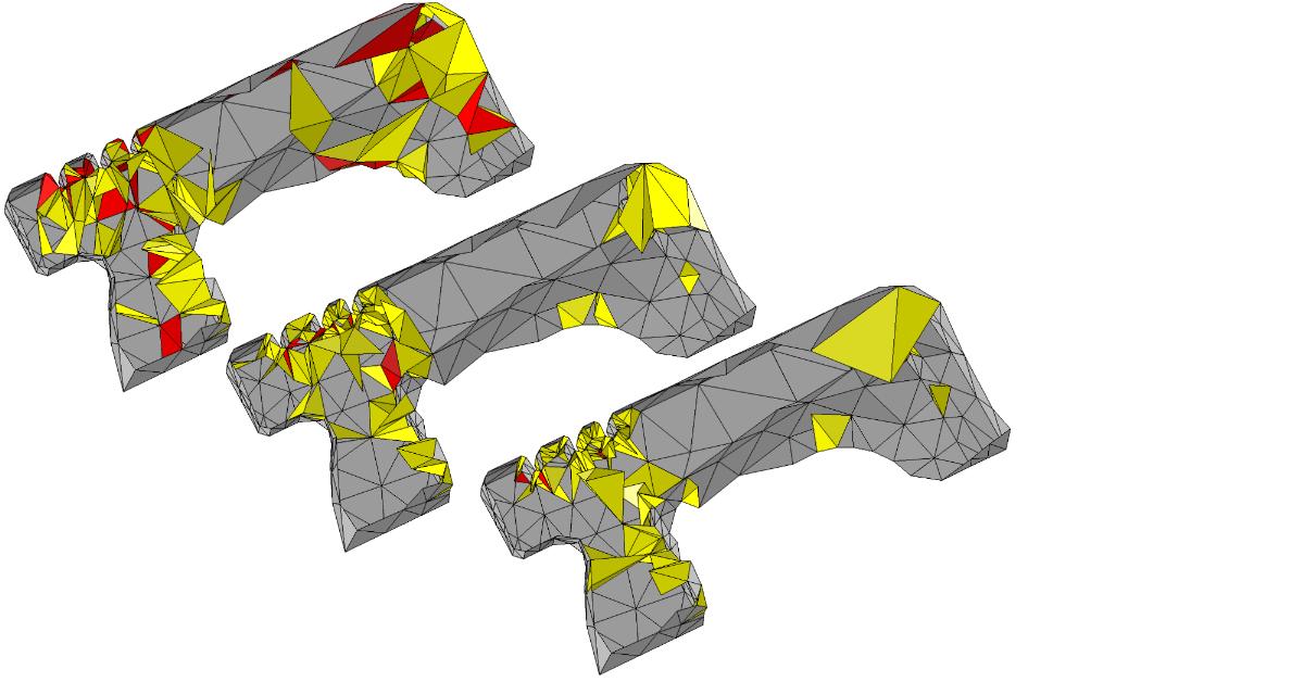 На рисунке показаны внутренние части тетраэдрализации (ее срезы) и выделены самые некачественные элементы при различном уровне оптимизации.