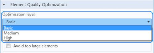 На рисунке изображены три уровня оптимизации качества элементов (Element Quality Optimization) в COMSOL Multiphysics.