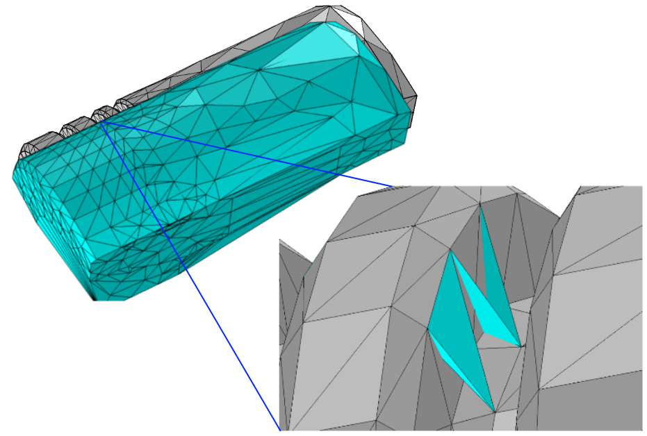 Two images highlighting the boundary mesh, Delaunay tetrahedralization, and tetrahedra in a COMSOL Multiphysics geometry.