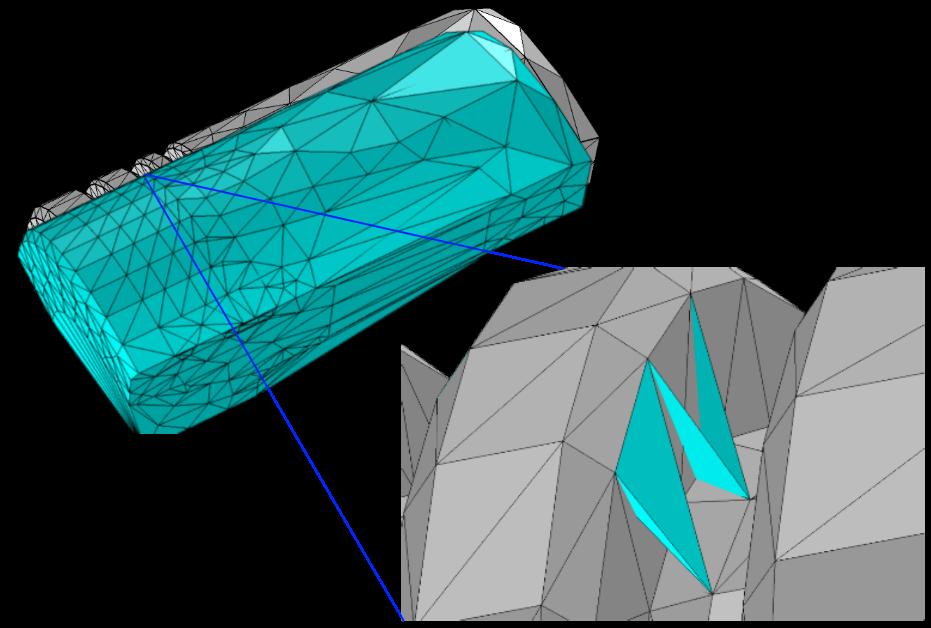 Показаны граничная сетка, тетраэдрализация Делоне и некоторые ее тетраэдры для рассматриваемой геометрии в COMSOL Multiphysics.