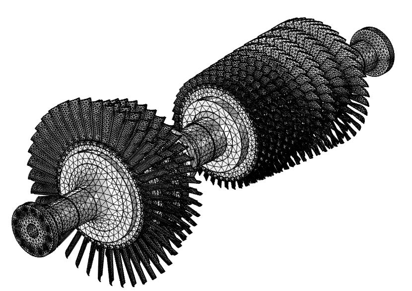 Image depicting a gas turbine's tetrahedral mesh.