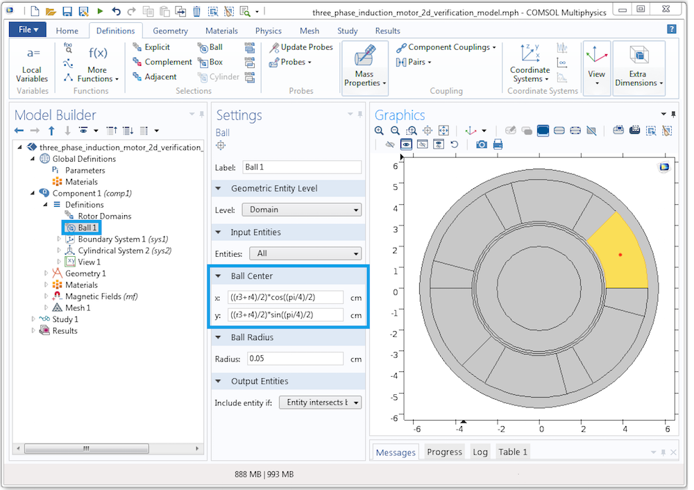 Screenshot showing how to create a parameterized ball selection in COMSOL Multiphysics.