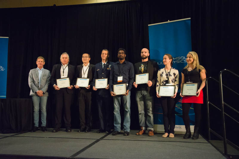 Photograph showing the Best Paper and Best Poster award winners from the COMSOL Conference 2016 Boston.